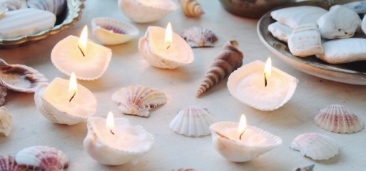 Seashell candles for beach home decor