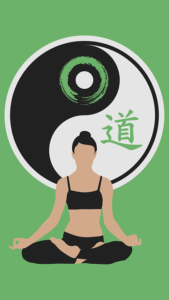 Woman meditating on Yin-Yang sign background.