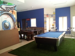 Pool table in a room