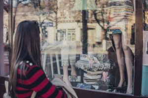 A girl who is window-shopping