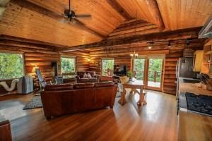 A log home interior.