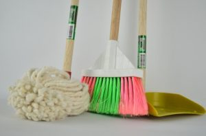 Cleaning supplies to do some cleaning before you stage your attic for the sale.