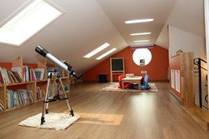 A modern looking attic.