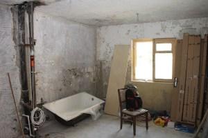 Renovating a bathroom.