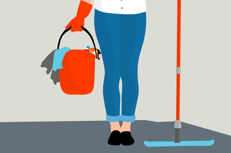 An illustration of a woman with some cleaning equipment.