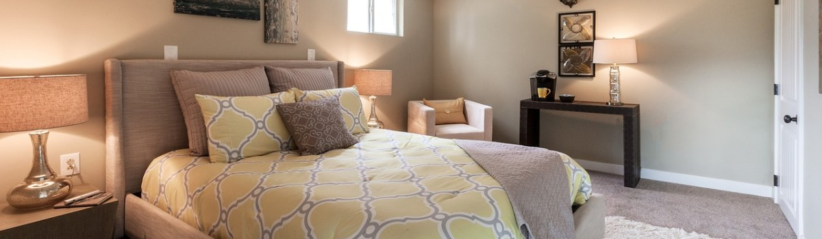 A wonderful bedroom after finishing a basement in your Texas home.