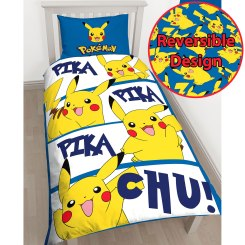 POK002 - Pokémon Pikachu Single Duvet Cover and Pillowcase Set