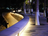 Variable and fixed location lighting on the seawall boundary.