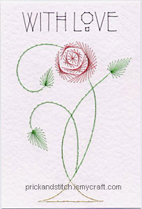 Art nouveau greeting with a rose design