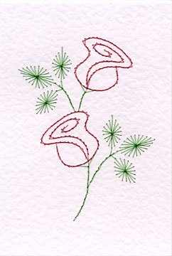 rose prick n' stitch greetings card