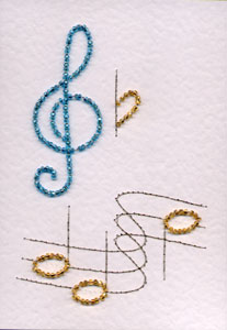 Musical Notes Pattern Added At Stitching Cards Prick And