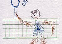 Badminton player pattern at Stitching Cards