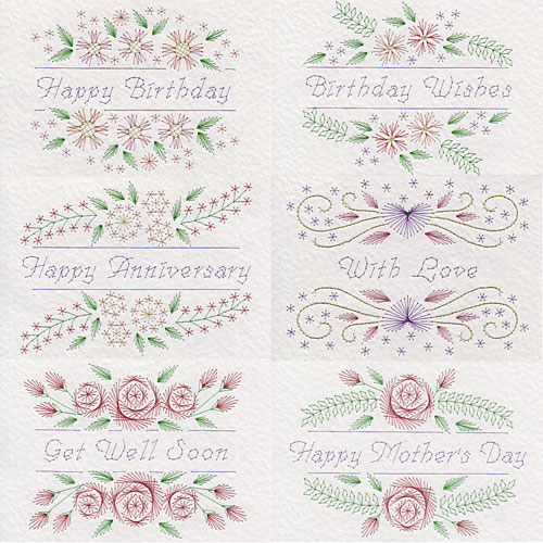Floral greetings patterns at Stitching Cards.