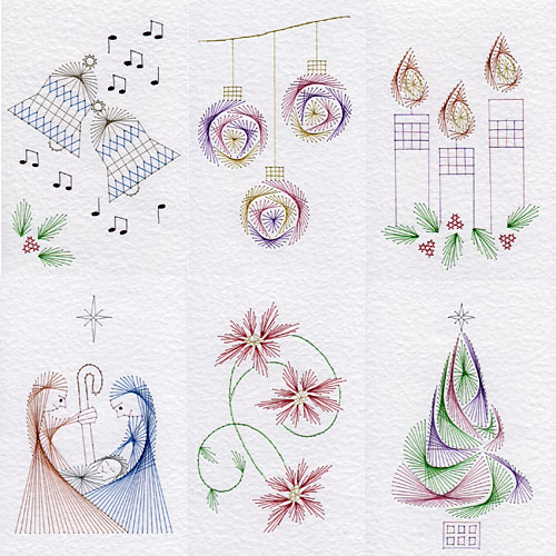 Christmas patterns at Stitching Cards: Pack No. 75