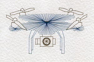 Drone pattern at Stitching Cards