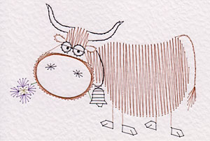 Highland cow pattern added at Stitching Cards