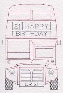 London bus pattern added at Stitching Cards