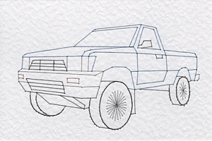 Pickup truck pattern at Stitching Cards
