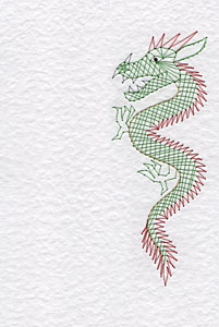 Chinese dragon pattern at Stitching Cards