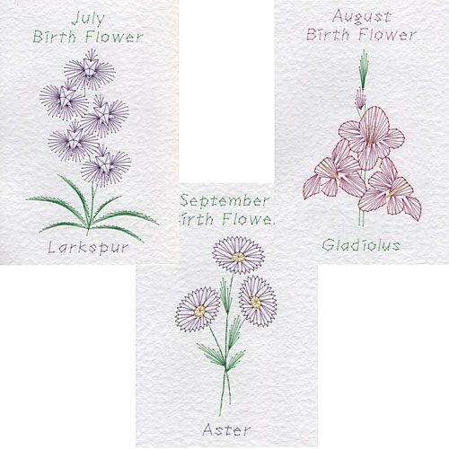 July, Aug, Sept birth flower patterns at Form-A-Lines