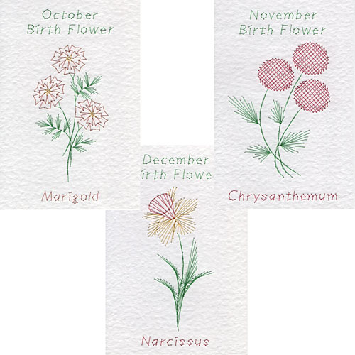Oct, Nov, Dec, birth flower patterns at Form-A-Lines