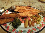 Grilled Trout, Greens, Potatoes & Squash