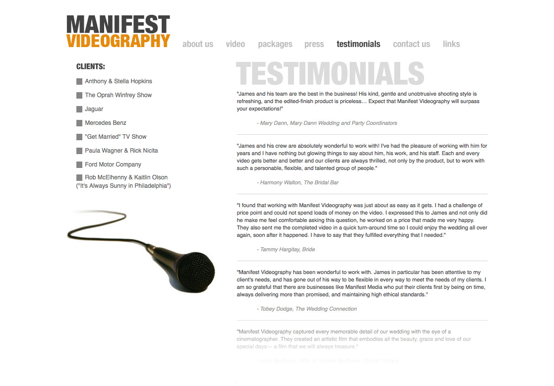 Manifest Videography - Testimonials Page