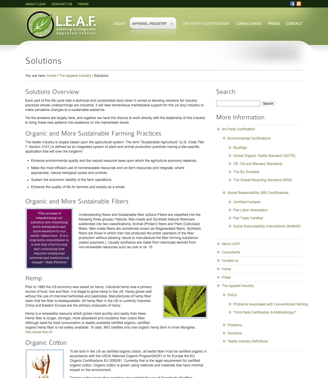 Leaf Certified Solutions Page