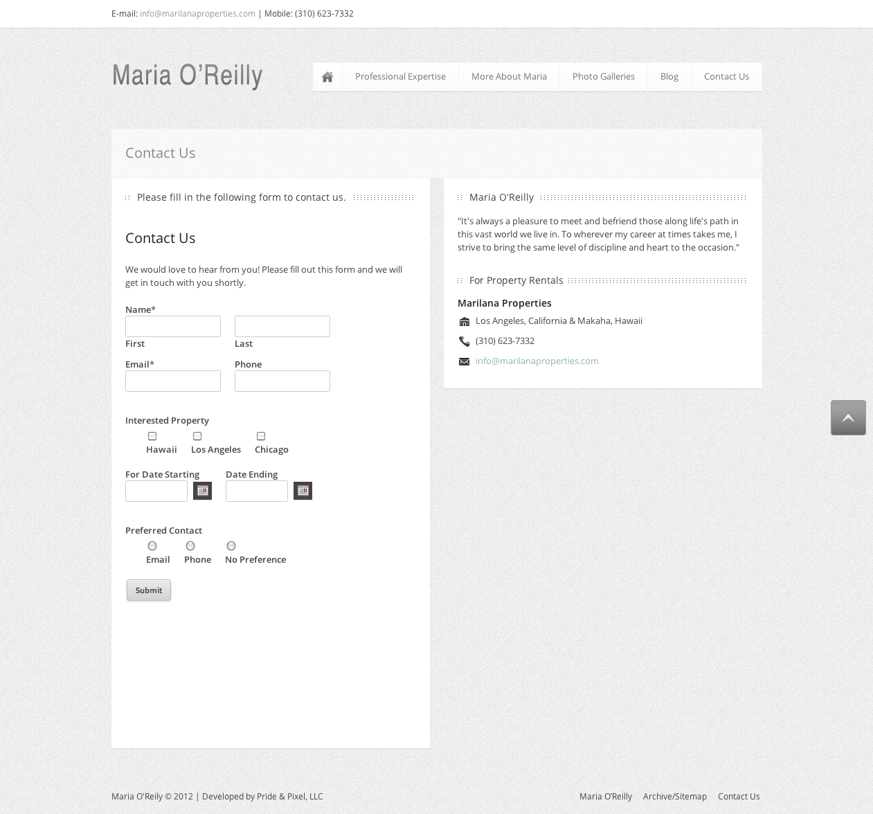 Maria O'Reilly Contact Page Screen