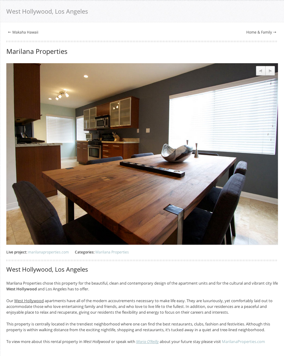 Maria O'Reilly Properties Page Screen