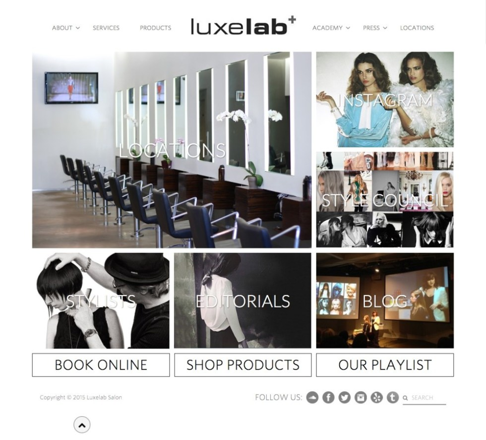 LuxeLab Salon Homepage