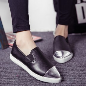 2015-New-Metal-Pointed-Flat-shoes-Women-s-Ladies-Low-heeled-Shoes-Retro-Casual-Shoes-Women