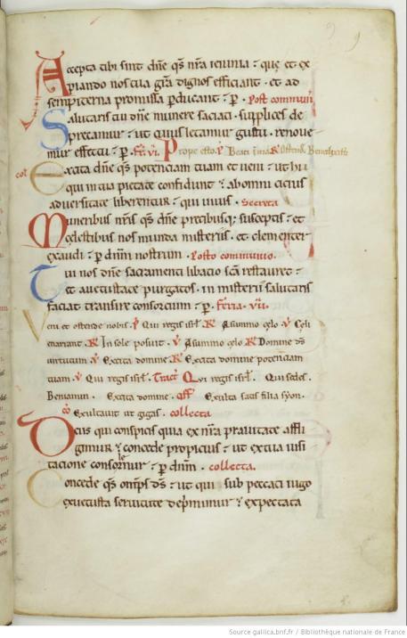 Missel provenant de Foicy, XIIe s. Bnf, Ms. lat. 9437, f. 25.