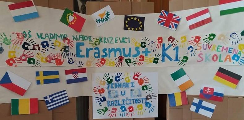 """OŠ """"Vladimir Nazor"""" Križevci odobren 3. Erasmus projekt Be kind, don`t leave them behind  i financijska podrška 19.186 eura"""