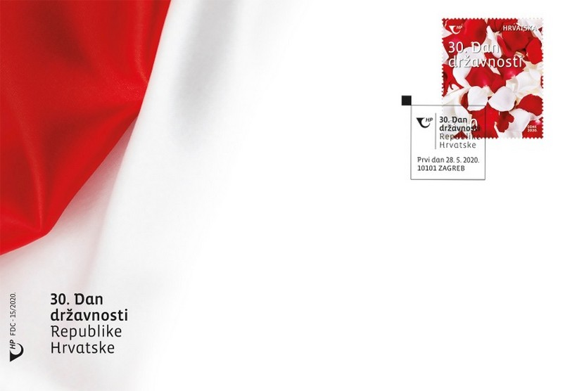Za 30. Dan državnosti prigodna poštanska marka s motivom crvenih i bijelih ružinih latica