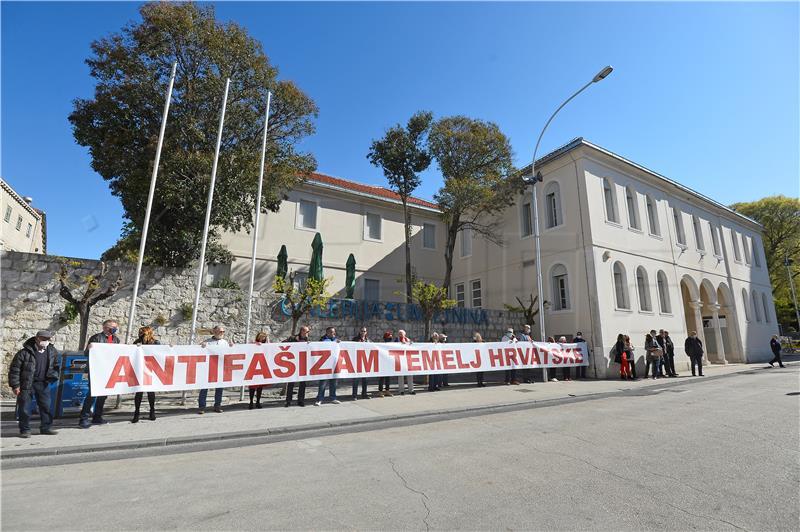 """Nova ljevice izvela performans """"Antifašizam temelj Hrvatske"""""""