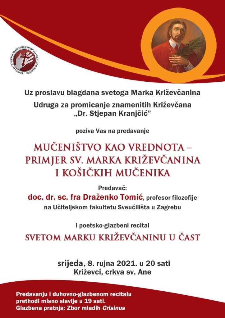 Plakat sv. Marko Križevčanin 2021