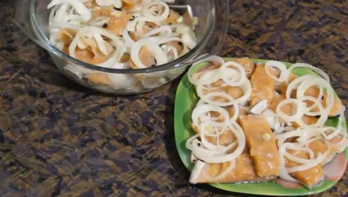 在腌料中的食谱盐gorbushi