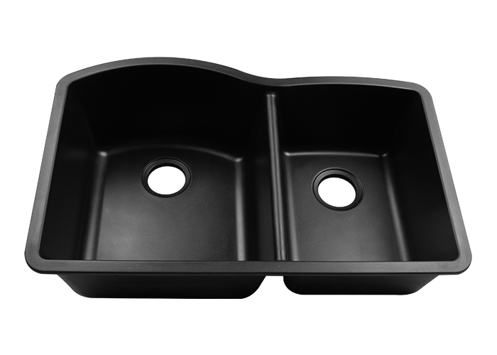 Granite Composite Off-Set Bowl 60/40 Undermount Kitchen Sink - Cafe ...