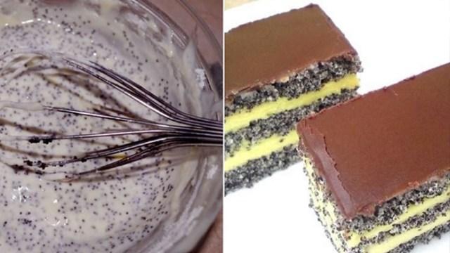 Makový koláč s vanilkovým krémem a čokoládovou polevou