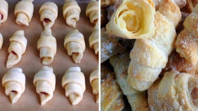 Recept na domácí Croissanty s marmeládou či nutellou