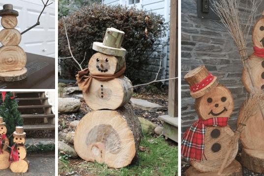 Sněhuláky ze dřeva