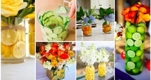 Jarní inspirace na skleněné vázy, do kterých lze kromě květin vložit i citrusy