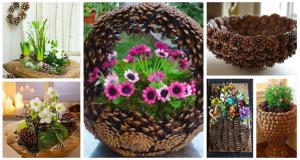Jarní dekorace ze šišek