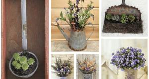 Květinové dekorace ze starých nástrojů: Využijte lopatky, struhadla a nádobí!