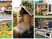Inspirace na zahradní zábavu pro děti vytvořenou z dřevěných palet