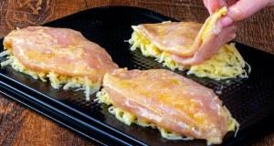Kuřecí prsa plněná sýrem v bramborovém kabátku