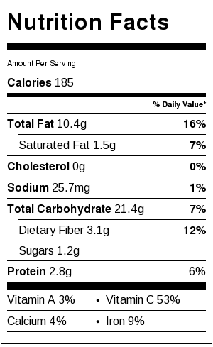 Mayonnaise Free Potato Salad Nutrition Information