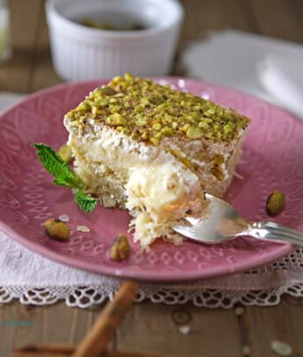 GREEK EKMEK KATAIFI (SHREDDED PHYLLO WITH SYRUP, CUSTARD AND WHIPPED CREAM)