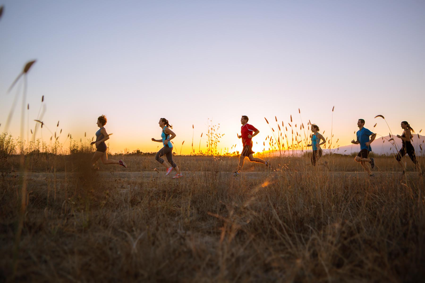 Runners in the sunset - Santa Barbara, California